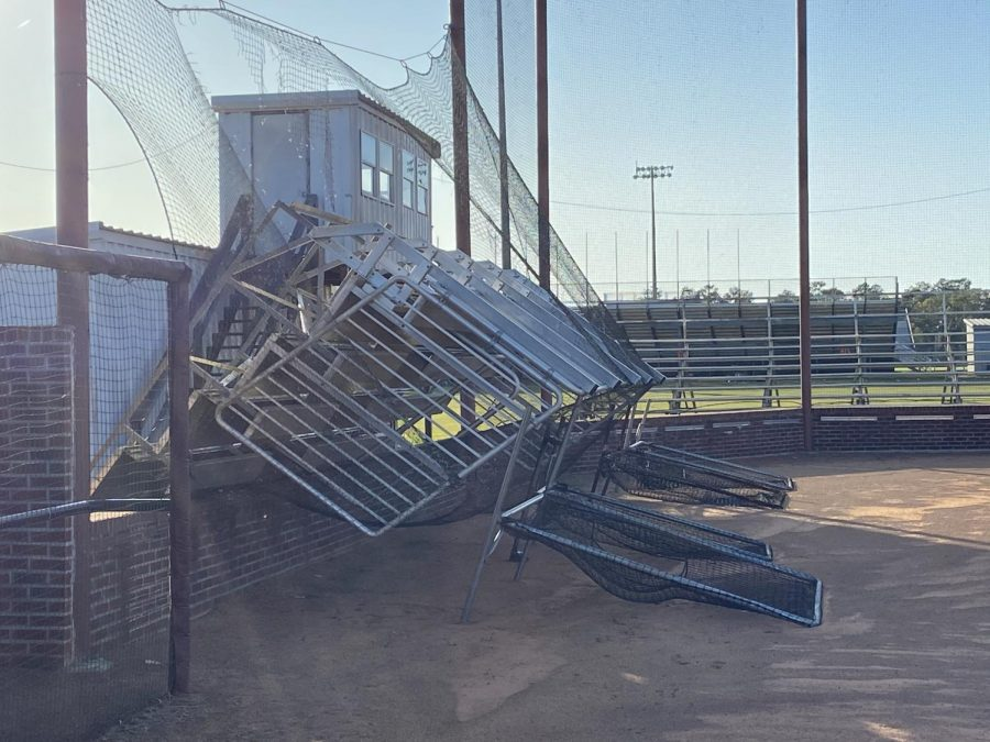 Softball bleachers are toppled over during Hurricane Zeta.